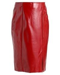 Jupe crayon en cuir rouge New Look