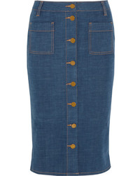 Jupe crayon en denim bleue Tory Burch