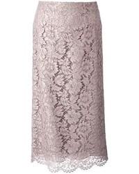 Jupe crayon en dentelle grise Valentino