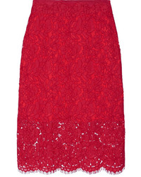 Jupe crayon en dentelle rouge Diane von Furstenberg