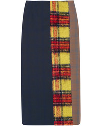 Jupe crayon en laine à patchwork bleu marine Acne Studios