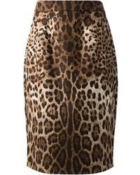 Jupe crayon imprimée léopard brune Dolce & Gabbana