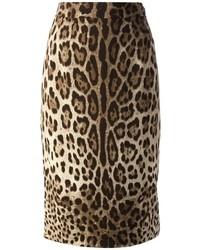 Jupe crayon imprimée léopard marron clair