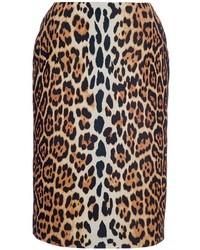 Jupe crayon imprimée léopard marron Christian Dior