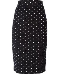 Jupe crayon imprimée noire et blanche Givenchy