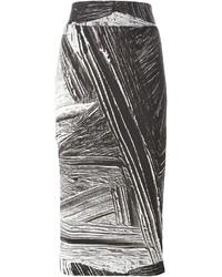 Jupe crayon imprimée noire et blanche Helmut Lang