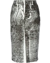 Jupe crayon imprimée noire et blanche McQ by Alexander McQueen