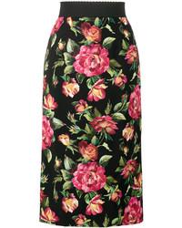 Jupe crayon imprimée noire Dolce & Gabbana
