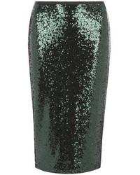 Jupe crayon pailletée vert foncé