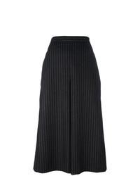 Jupe-culotte à rayures verticales noire et blanche