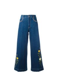 Jupe-culotte brodée bleue Stella McCartney