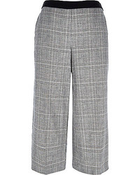Jupe-culotte écossaise grise