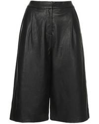 Jupe-culotte en cuir noire