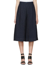 Jupe-culotte en denim bleu marine Rosetta Getty