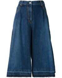 Jupe-culotte en denim bleu marine Sacai