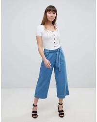 Jupe-culotte en denim bleue New Look