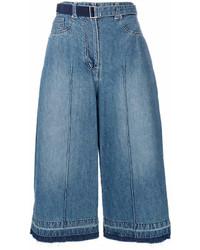 Jupe-culotte en denim bleue Sacai