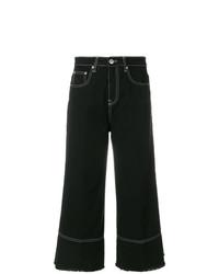 Jupe-culotte en denim noire MSGM