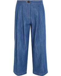 Jupe-culotte en denim plissée bleue ADAM by Adam Lippes