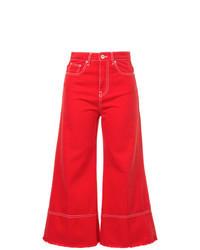 Jupe-culotte en denim rouge