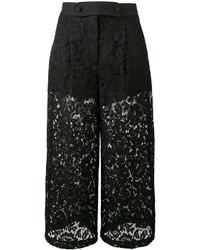 Jupe-culotte en dentelle noire Valentino