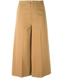 Jupe-culotte en laine marron clair