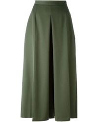 Jupe-culotte en laine olive Alexander McQueen