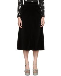 Jupe-culotte en velours noire Saint Laurent