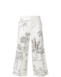 Jupe-culotte imprimée blanche Marni