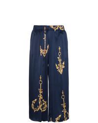 Jupe-culotte imprimée bleu marine