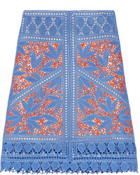 Jupe en crochet bleue Tory Burch