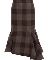 Jupe en laine à carreaux marron foncé Balenciaga