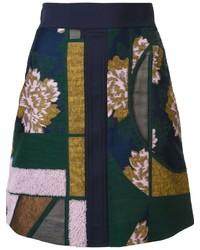 Jupe en laine à patchwork bleu canard Roksanda