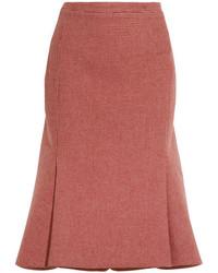 Jupe en laine en pied-de-poule rouge Balenciaga