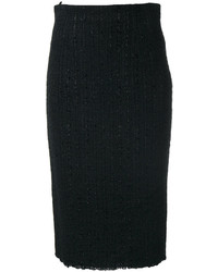 Jupe en laine noire Alexander McQueen