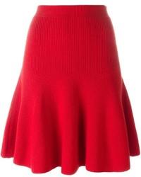Jupe en laine plissée rouge Alexander McQueen