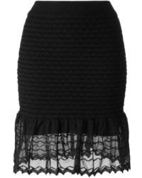 Jupe en soie en tricot noire Alexander McQueen