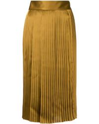 Jupe en soie plissée moutarde Public School