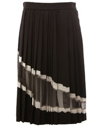 Jupe en soie plissée noire Maison Margiela