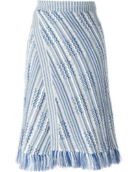 Jupe en tricot bleu clair Tory Burch