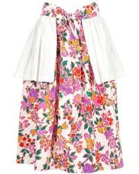 Jupe évasée à fleurs blanc et rose Saint Laurent