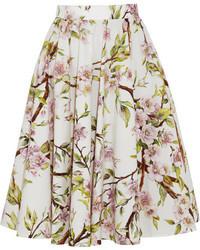 Jupe évasée à fleurs blanche Dolce & Gabbana