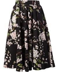 Jupe évasée à fleurs noire et blanche Dolce & Gabbana