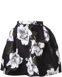 Jupe évasée à fleurs noire et blanche Lanvin