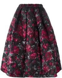 Jupe évasée à fleurs noire Comme des Garcons