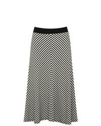 Jupe évasée à motif zigzag noire et blanche