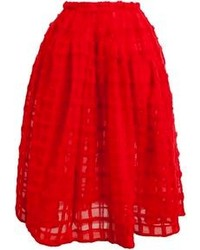 Jupe évasée texturée rouge