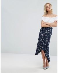 Jupe imprimée bleu marine Miss Selfridge