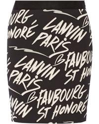 Jupe imprimée noire Lanvin