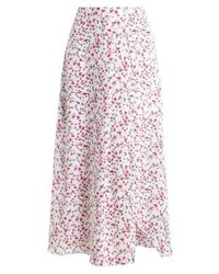 Jupe longue à fleurs blanche Abercrombie & Fitch
